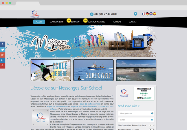 Projet conception site Internet Messanges Surf School - WordPress / WooCommerce